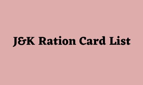 J&K Ration Card List